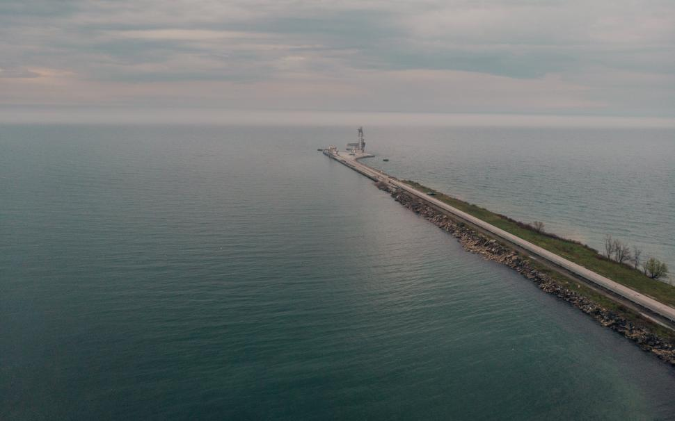 Download Free Stock Photo of Aerial view of a road leading to a seaport
