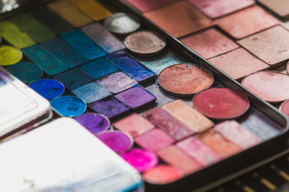 Download Free Stock HD Photo of Close up of eye eyeshadow and blush palette Online
