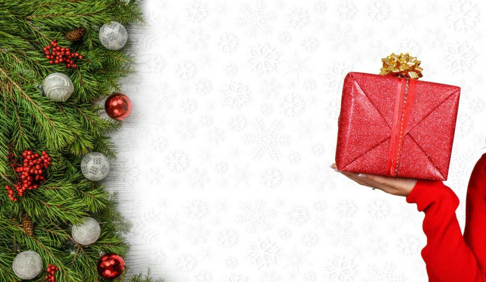 Download Free Stock Photo of Christmas gift and decorations