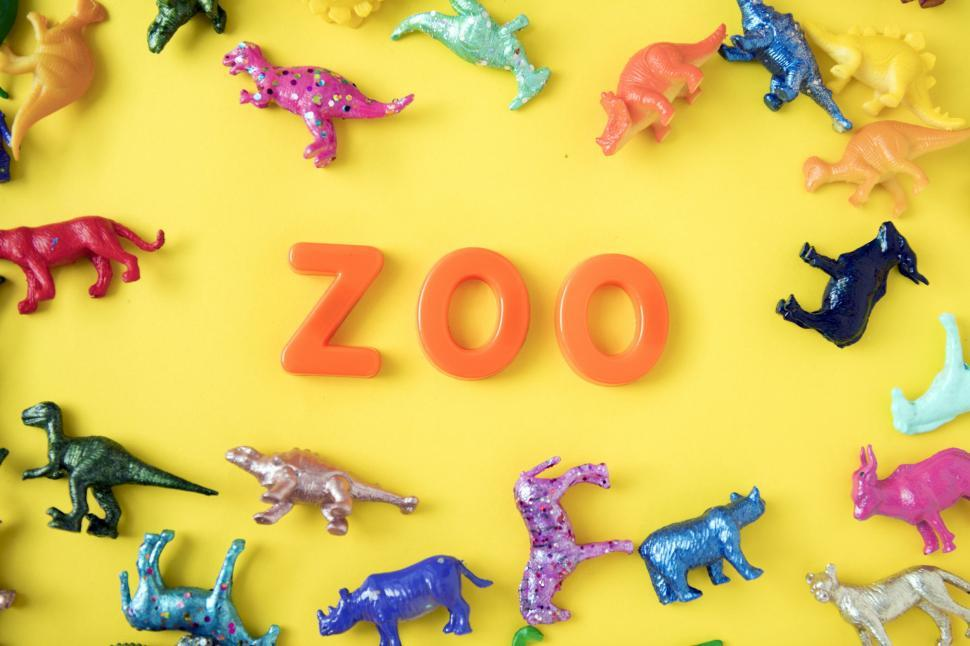 Download Free Stock Photo of Flat lay of the text ZOO arranged with plastic alphabet blocks s