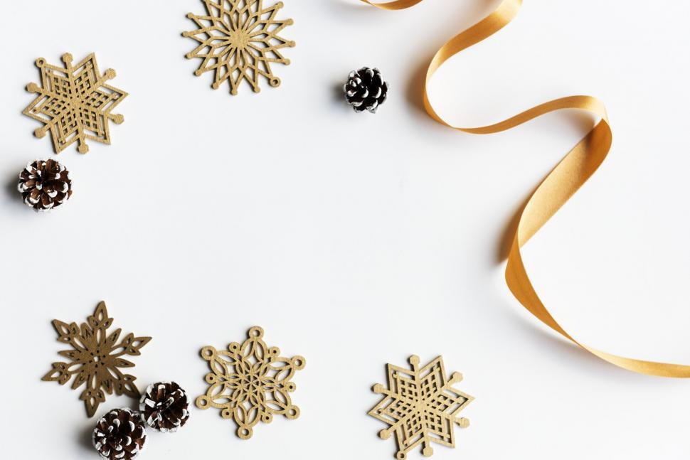 Download Free Stock Photo of Flat lay of Christmas decor on white surface