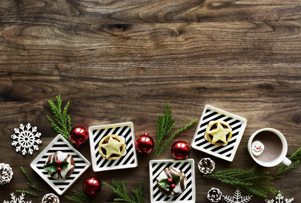 Download Free Stock Photo of Flat lay of Christmas decoration items with sweets