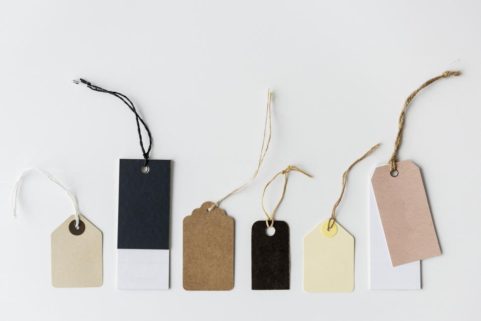 Download Free Stock Photo of A collection of blank clothing tags