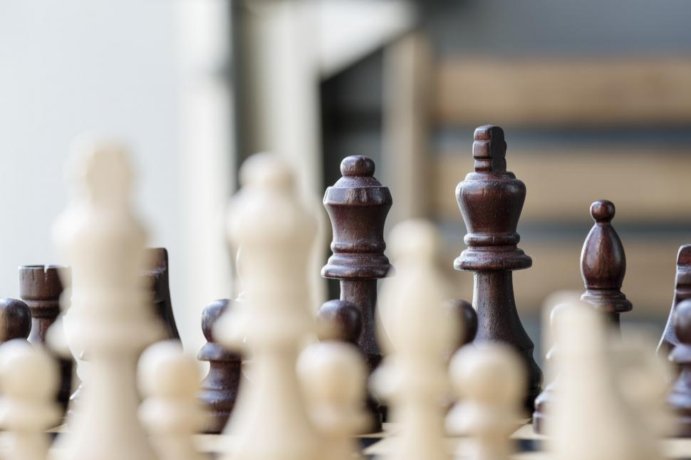 Download Free Stock Photo of Chess pieces with blurred foreground