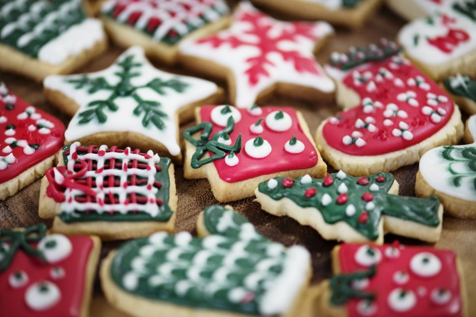 Download Free Stock HD Photo of Close up of colorful Christmas cookies Online
