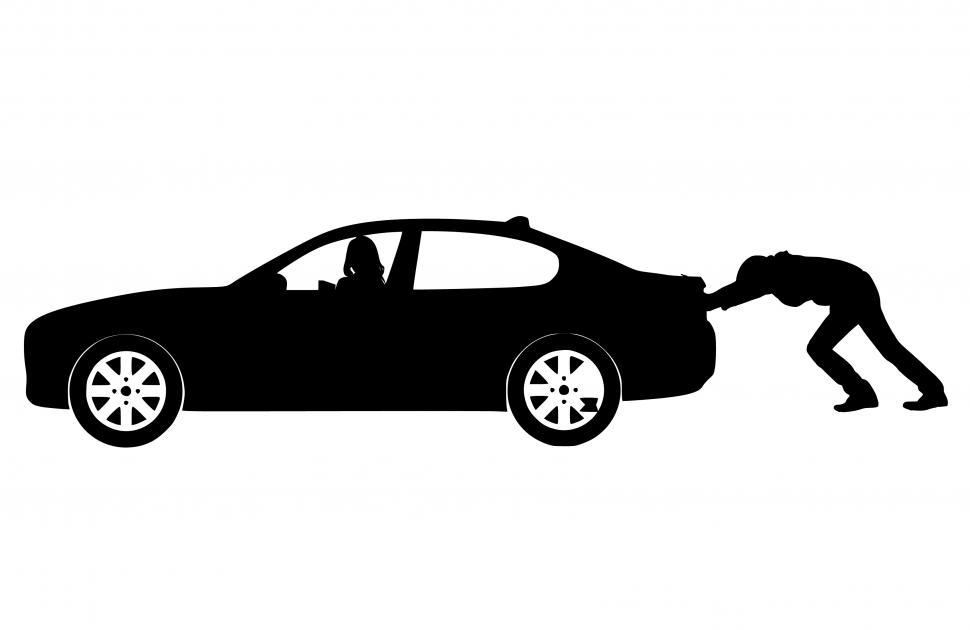 Download Free Stock HD Photo of pushing car Silhouette  Online