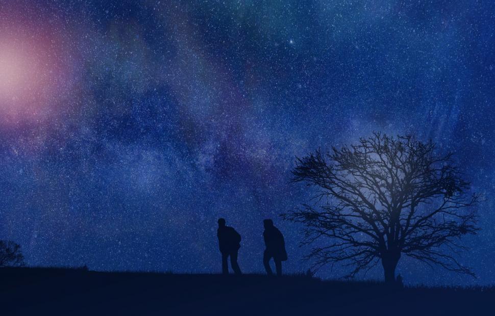 Download Free Stock Photo of Men Talking Under Night Sky - Intimate Talk