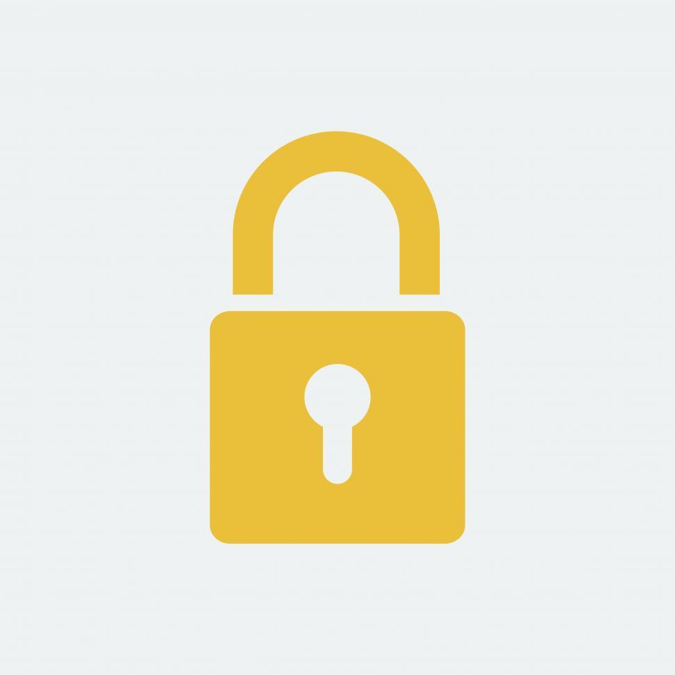 Download Free Stock Photo of Yellow lock symbol