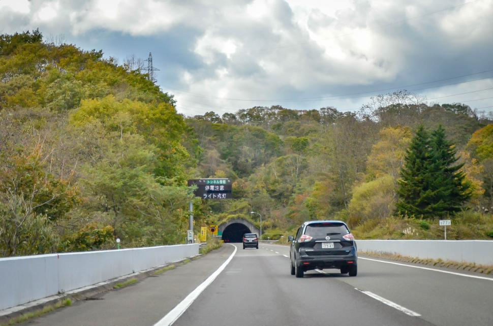 Download Free Stock Photo of Driving towards tunnel in Japan
