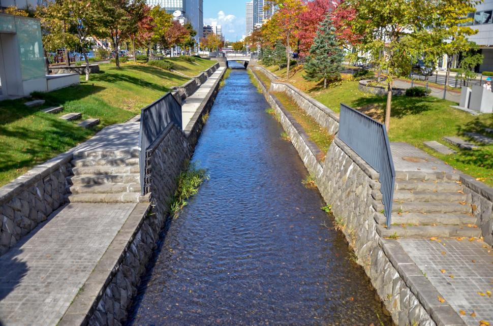 Download Free Stock Photo of Clean City Canal in Japan
