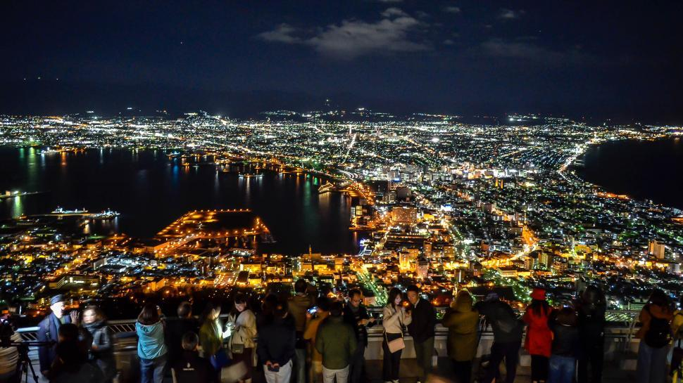Download Free Stock Photo of Overview Japan Cities at Night