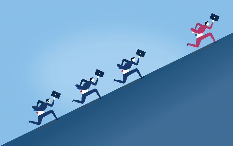 Download Free Stock HD Photo of Businessmen Pursuing Rival - Competition in the Workplace Online