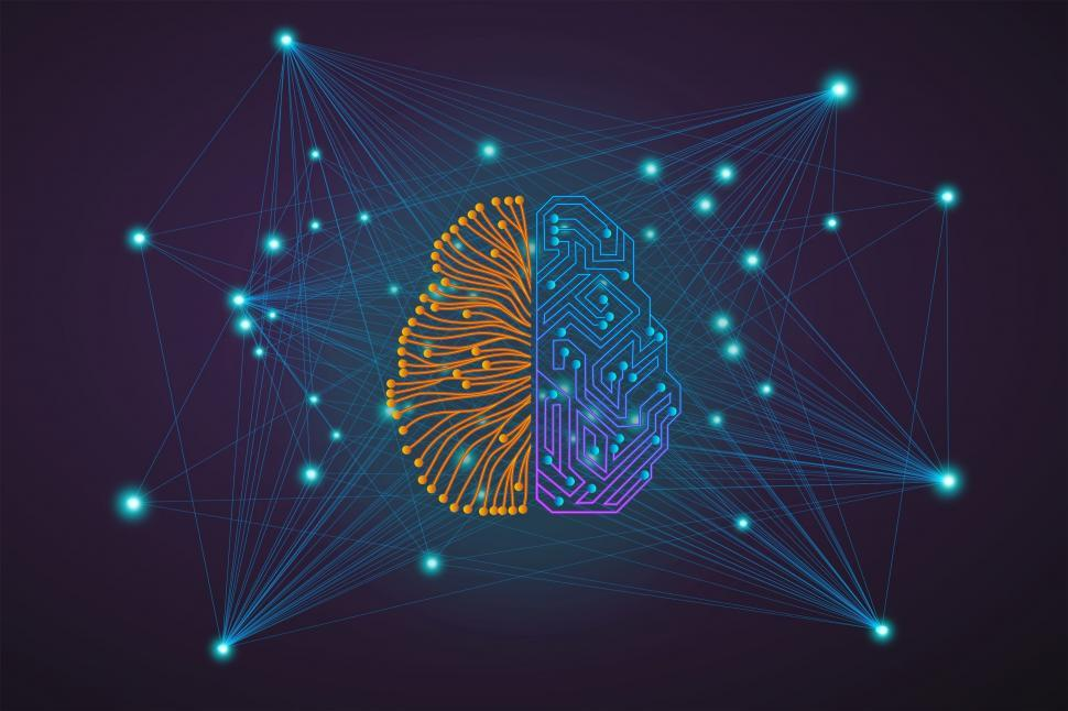 Download Free Stock Photo of The Connected Brains - Artificial Intelligence Interface