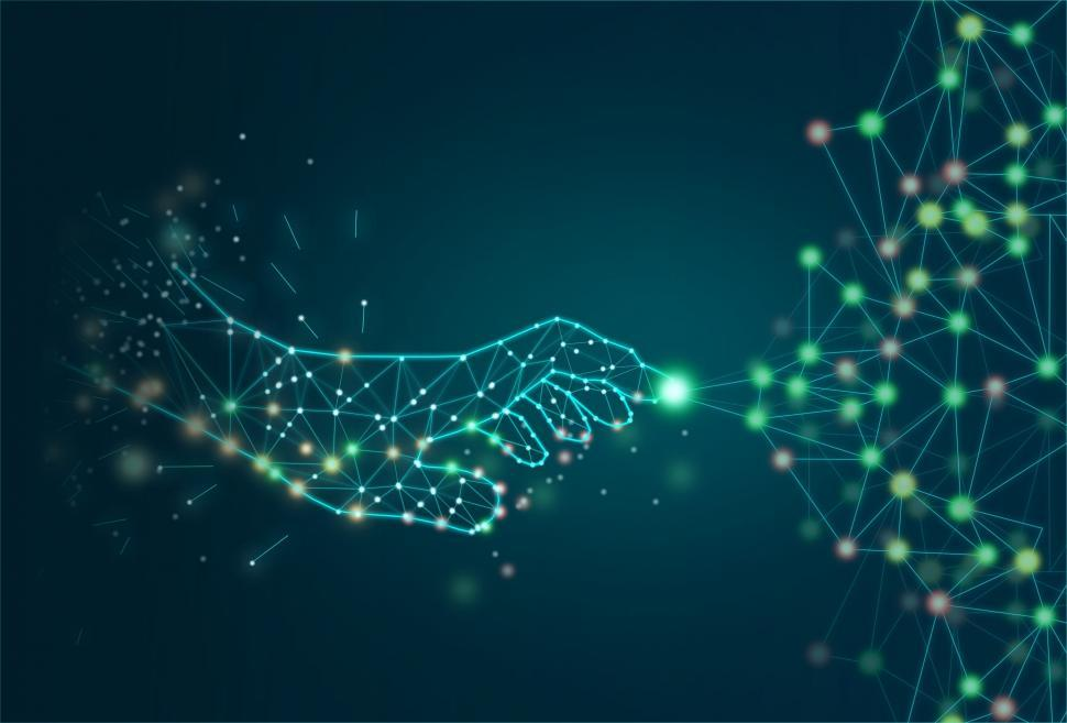 Download Free Stock Photo of Digital Transformation Concept - Virtual Hand Creating Network