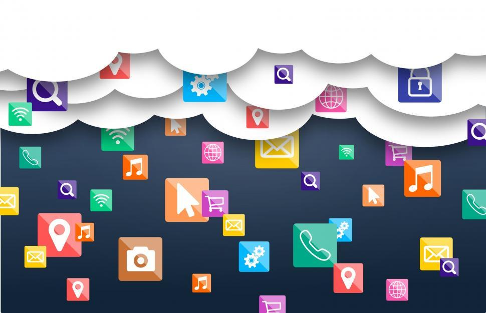 Download Free Stock Photo of Mobile Apps in the Cloud - Raining Applications