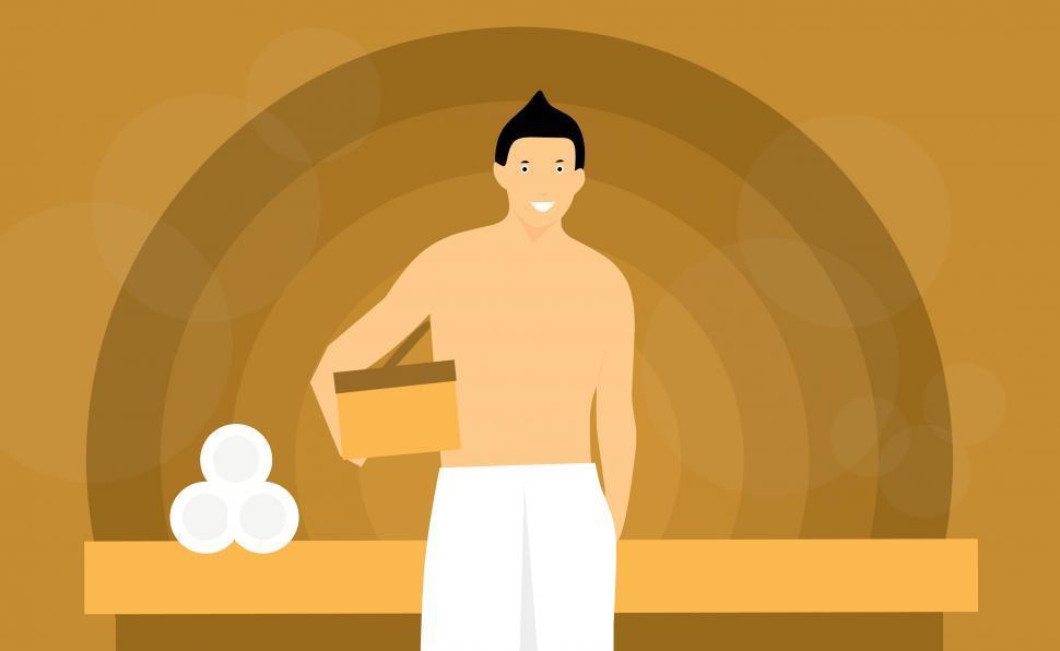 Download Free Stock Photo of sauna man