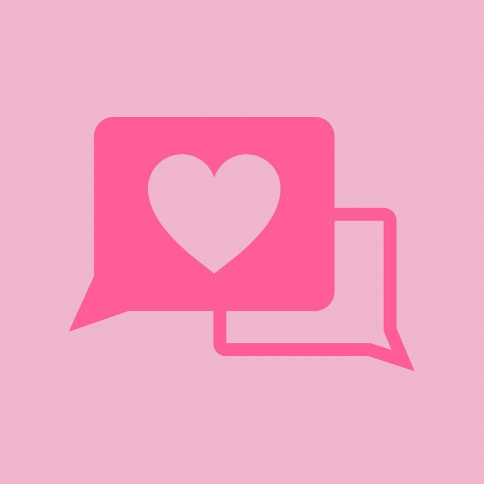 Download Free Stock Photo of Red love speech bubbles on pink background
