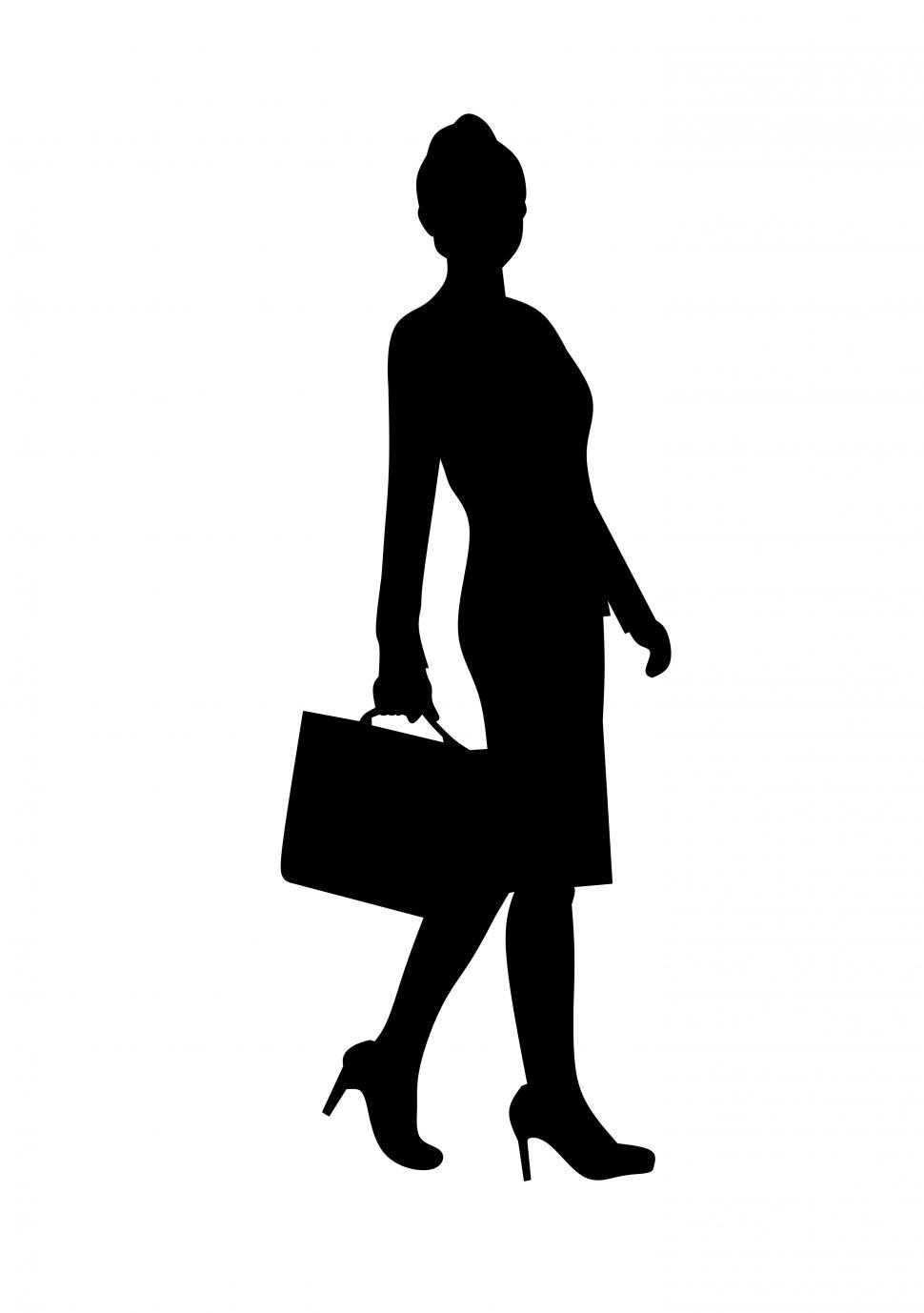 Download Free Stock Photo of Walking businesswoman silhouette