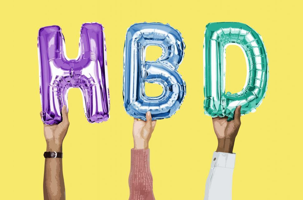 Download Free Stock Photo of H B D  formed by holding inflated alphabet shaped balloons with hands
