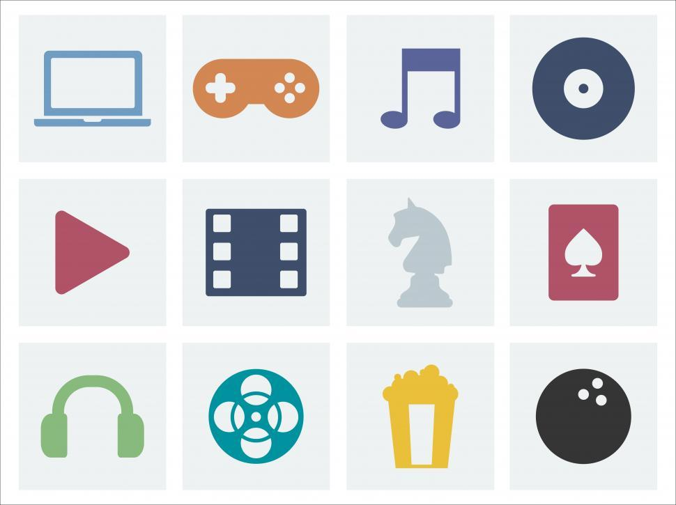 Download Free Stock Photo of A collection of music, game and movie vector icons