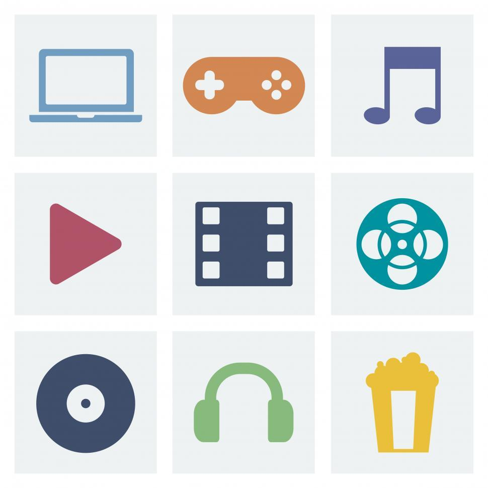 Download Free Stock HD Photo of A collection of music, game and movie vector icons Online