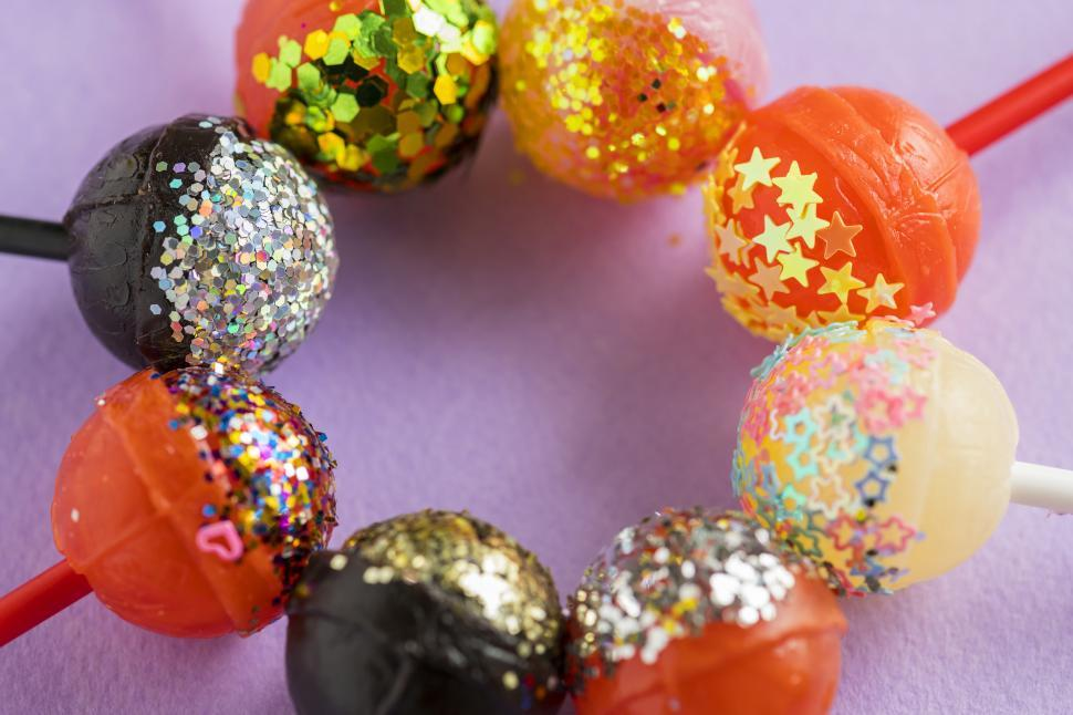 Download Free Stock HD Photo of Lollipops with glittered tops Online