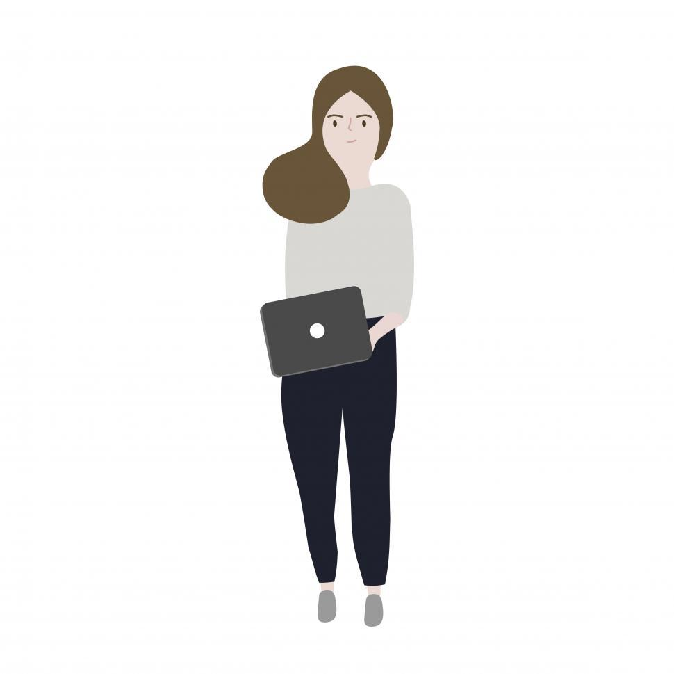 Download Free Stock HD Photo of Animated image of a woman carrying a laptop Online