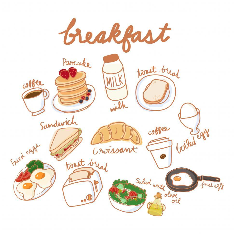 Download Free Stock Photo of Various breakfast food vector icons