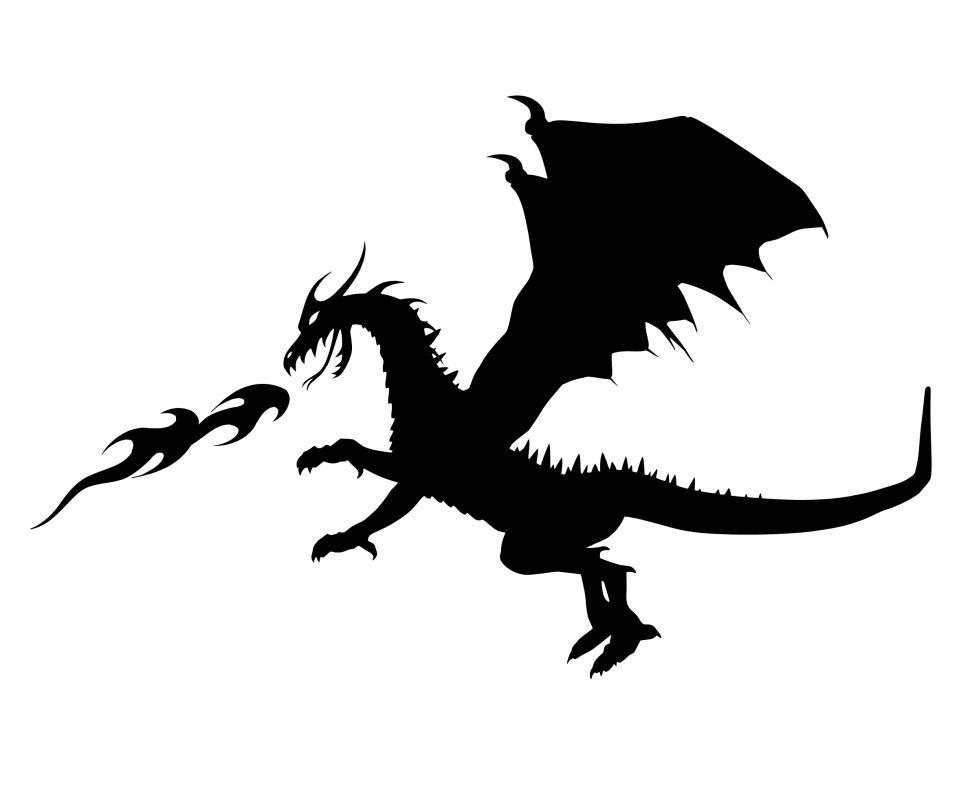 Download Free Stock Photo of dragon Silhouette