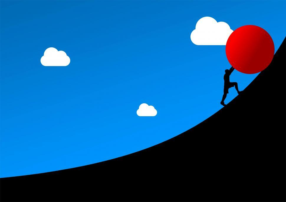 Download Free Stock Photo of Overcoming Obstacles - Concept - Man Pushing Huge Ball Over Slop
