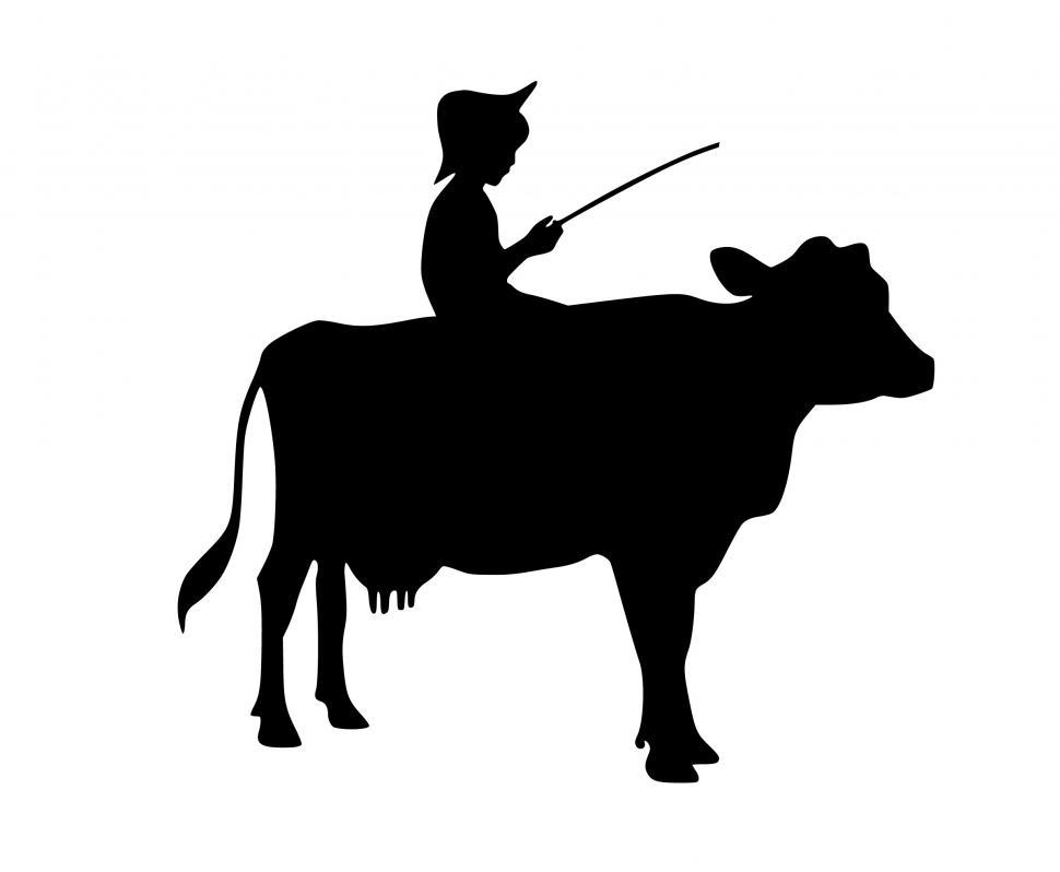 Download Free Stock HD Photo of boy riding cow Silhouette  Online