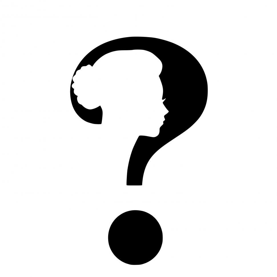 Download Free Stock Photo of Woman question mark