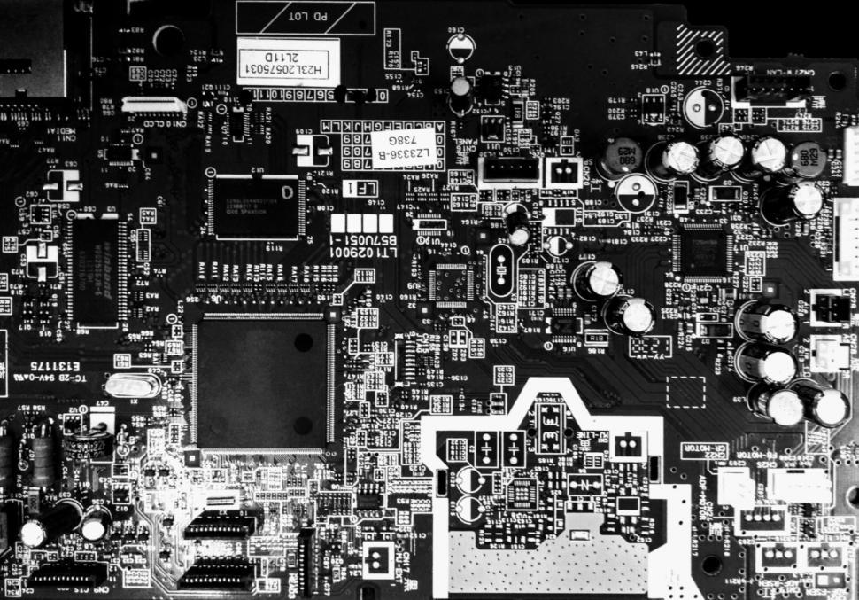 Download Free Stock HD Photo of Computer Circuit Board in Black and White  Online