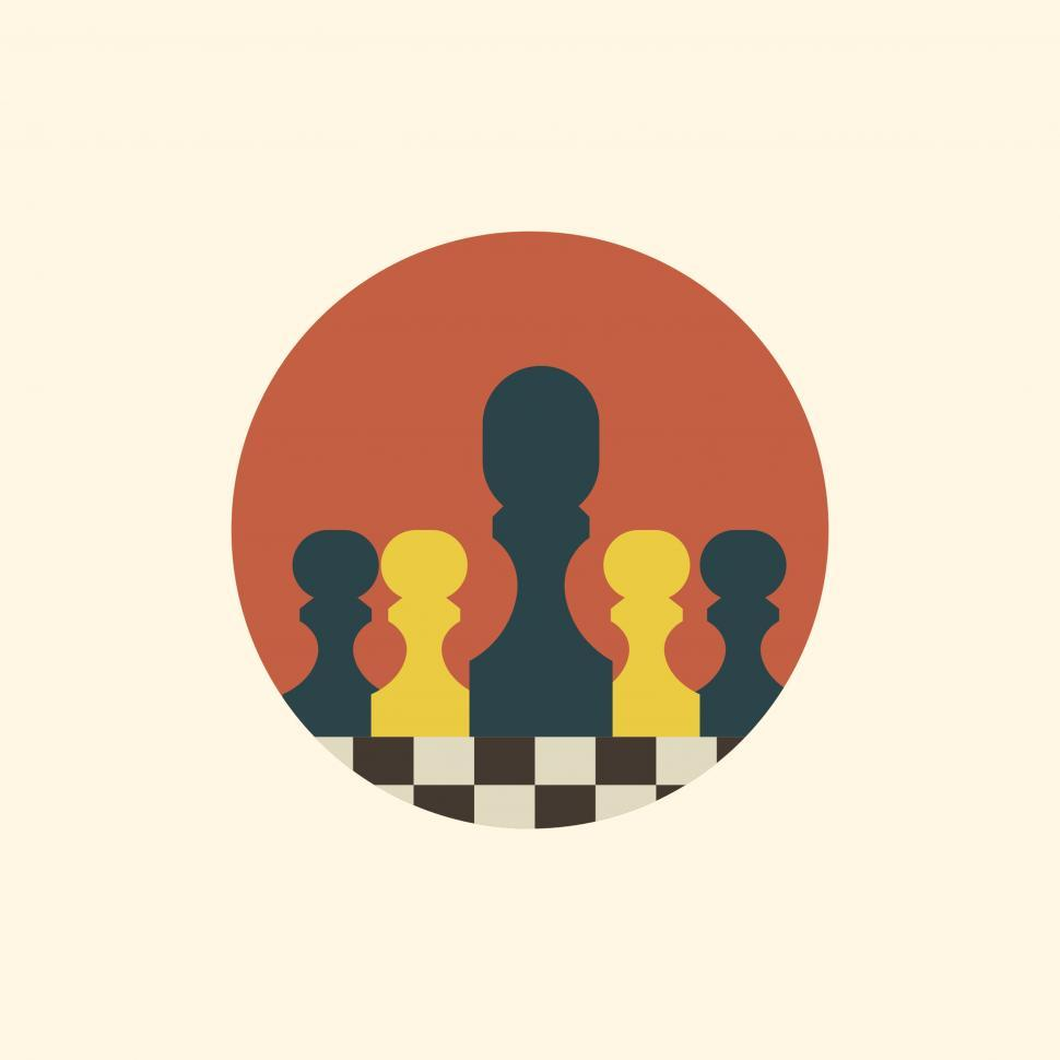 Download Free Stock Photo of Chessboard with chess pieces vector icons