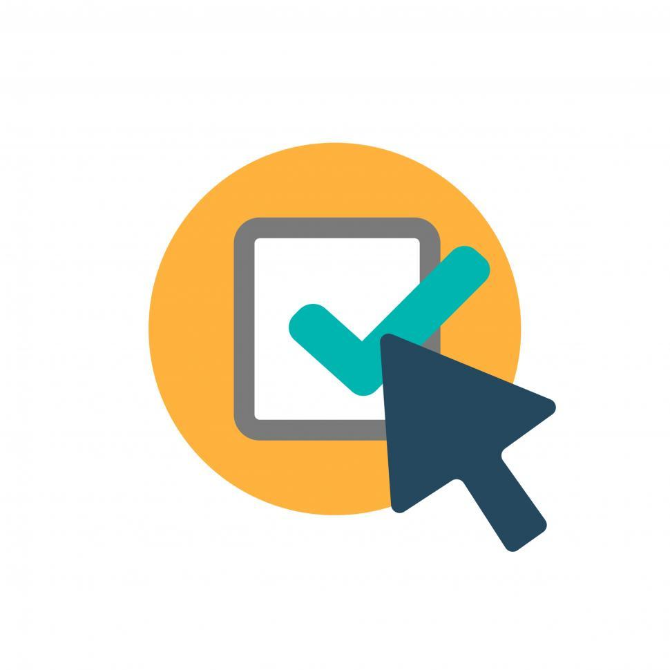 Download Free Stock Photo of Click vector icon with check sign