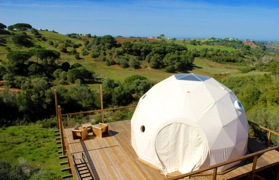 Download Free Stock HD Photo of Glamping Accommodation - Canvas Dome - Ecological Tents - Alente Online