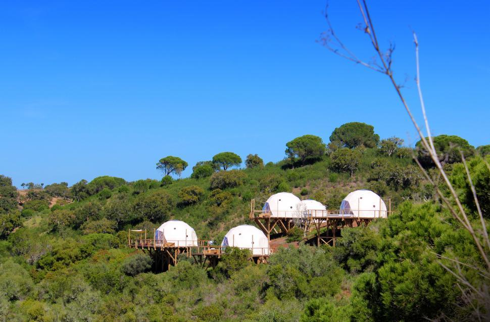 Download Free Stock Photo of Glamping Accommodation - Canvas Domes - Ecological Tents