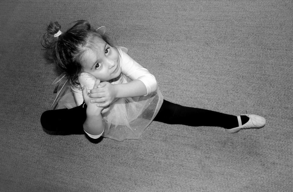 Download Free Stock Photo of Little Cute Ballerina Practicing
