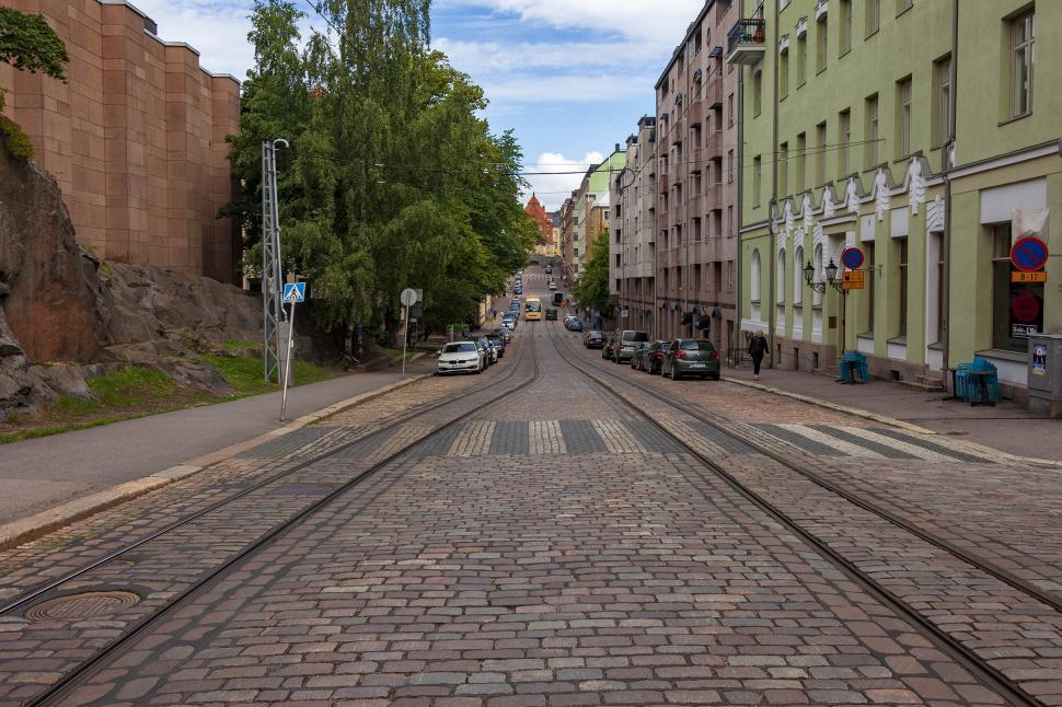 Download Free Stock HD Photo of  Helsinki street showing tracks and crosswalk Online