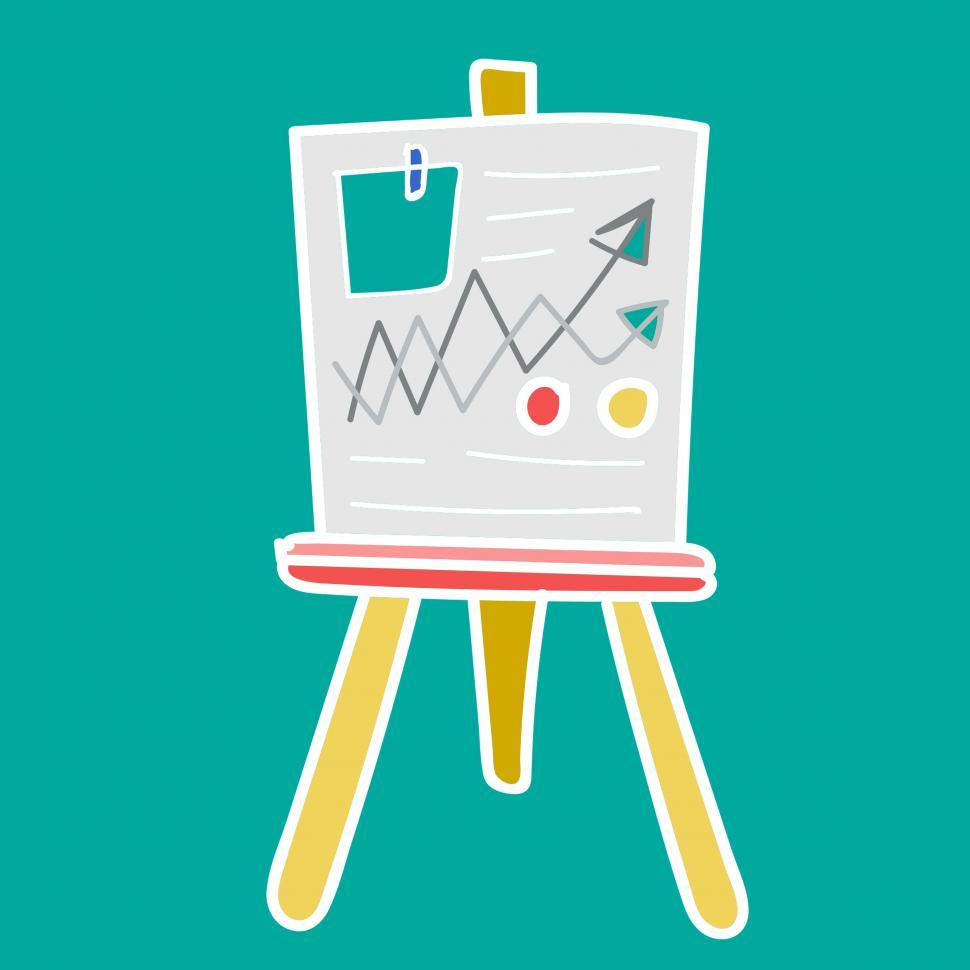Download Free Stock Photo of Whiteboard icon vector with graph presentation