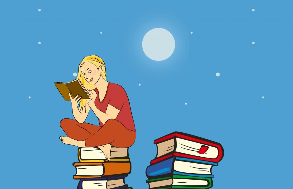 Download Free Stock Photo of Reading under moonlight