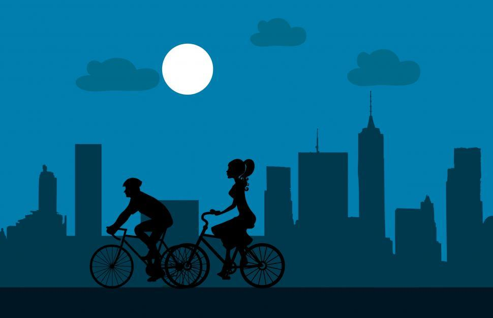Download Free Stock Photo of Cycling at night