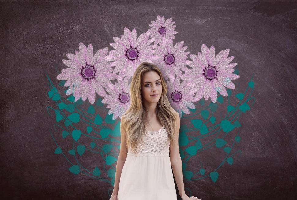 Download Free Stock HD Photo of Attractive Young Woman Over Blackboard with Flowers Online
