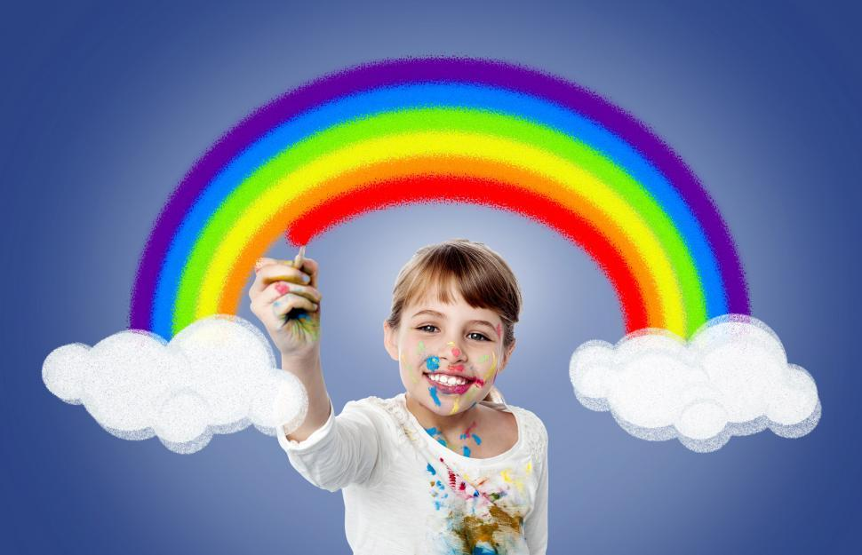 Download Free Stock Photo of Cute Girl Painting Rainbow - Happiness - Joy - Creativity - Chil