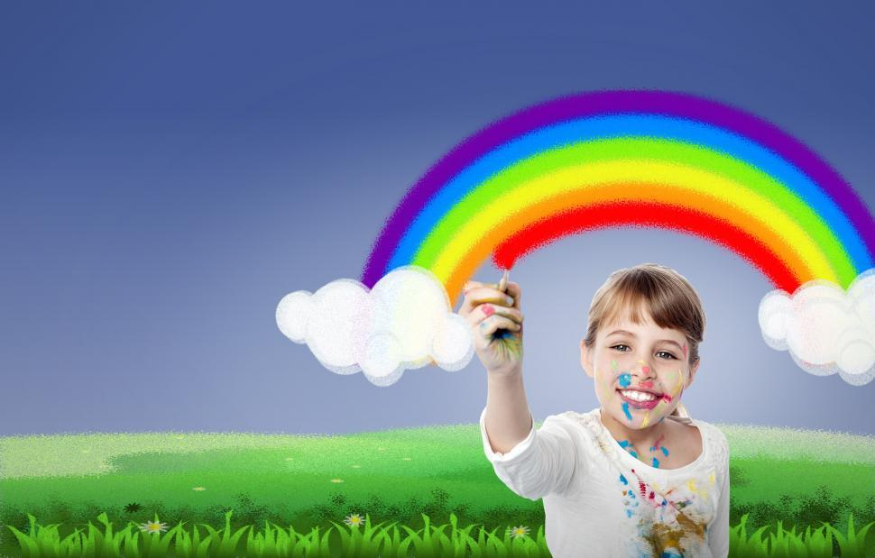 Download Free Stock Photo of Girl Painting Rainbow - With Copyspace - Happiness - Creativity