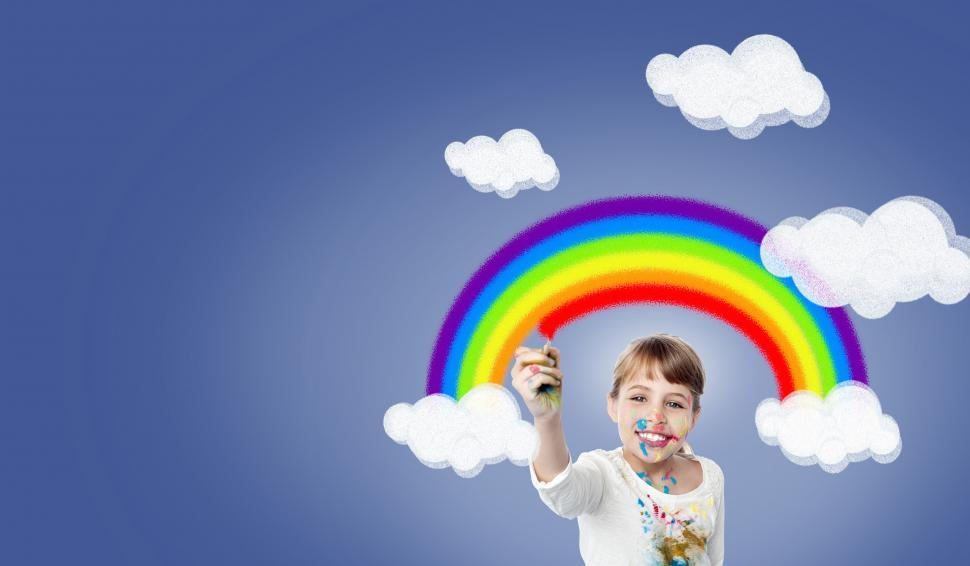 Download Free Stock HD Photo of Girl Painting Rainbow - With Copyspace - Happiness - Joy - Creat Online