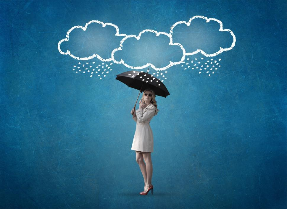 Download Free Stock HD Photo of Confident Woman Under Storm Clouds - Self Confidence Concept - B Online