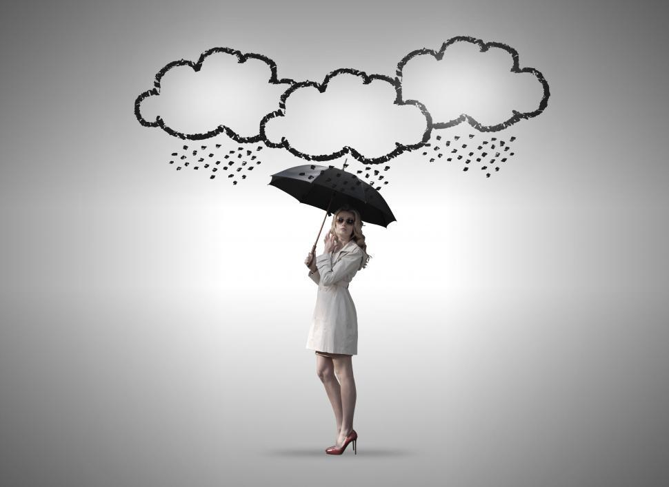 Download Free Stock HD Photo of Confident Woman Under Storm Clouds - Self Confidence Concept - S Online