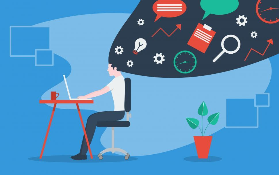 Download Free Stock Photo of Freelancer - Working From Home - Concept - Man