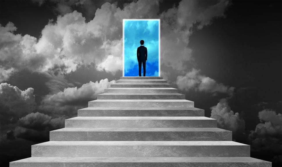 Download Free Stock HD Photo of Success Concept - Businessman on Stairway With Opened Door Into  Online